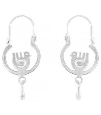 Silver Round Dove Hoop Earrings