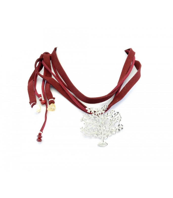 Silver Tree of Love Pendant with Leather Strap in Burgundy