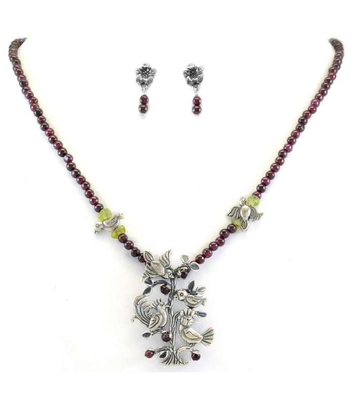 Silver Tree of Diversity Set of Necklace and Earrings