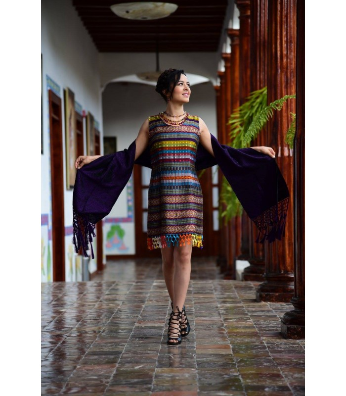 Comitan Cotton Sleeveless Multicolored Dress Made in a Foot Pedal Loom in Comitán, Chiapas, Size Medium