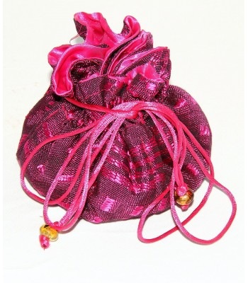 Comitan jewel bag in Pink, Artisela synthetic silk, woven in a foot pedal loom