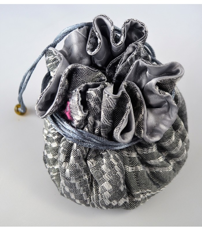 Comitan jewel bag in Silver, Artisela synthetic silk, woven in a foot pedal loom