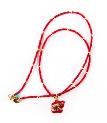 Elephant in a Strand of Sequins Red Necklace