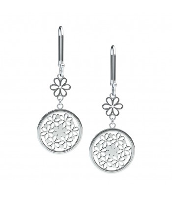 Bouquet of Lilies Silver Circular Earrings