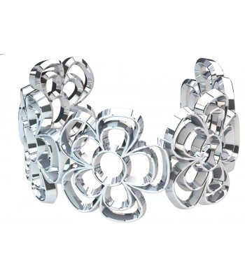 Bouquet of Pansies Silver Bracelet