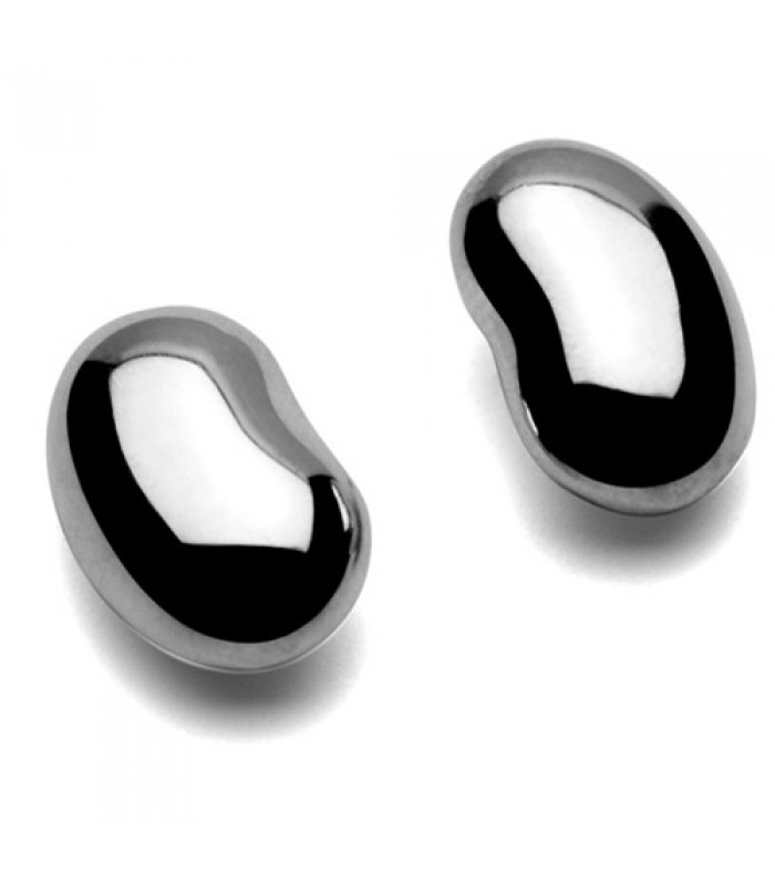 Bean Shaped Silver Pierced Earrings