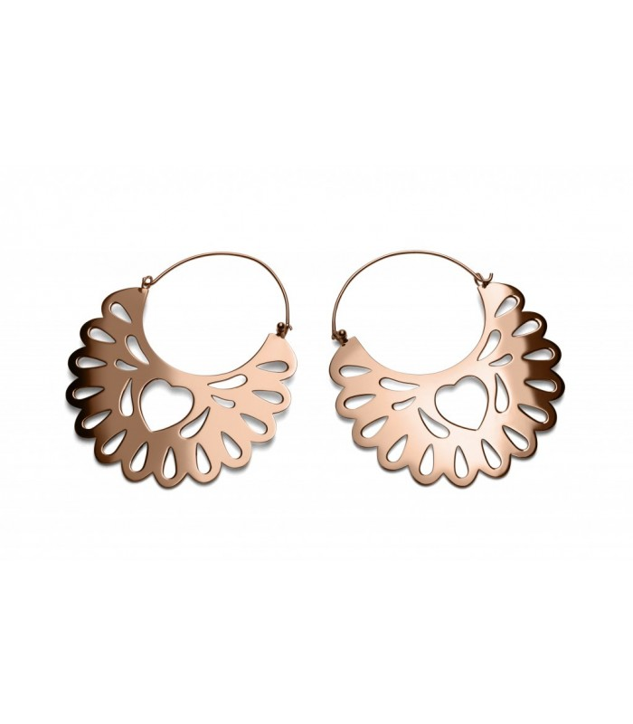 Amorcito Corazon Hoop Pink Gold Earrings