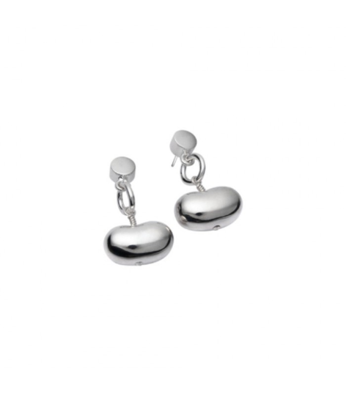 Bean Shaped Silver Earrings