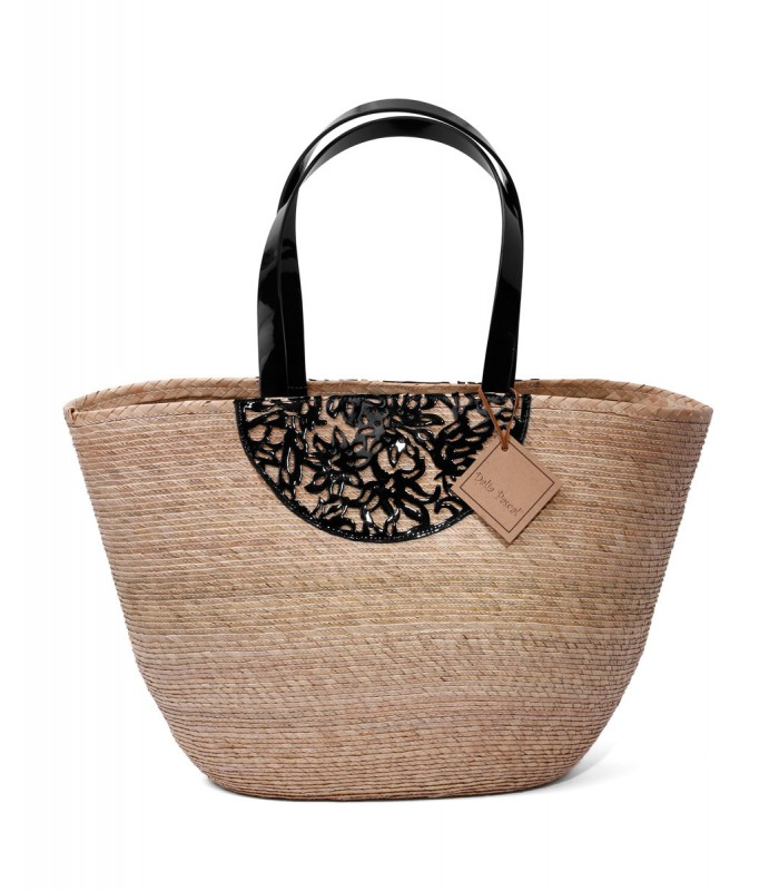 Medium Dove Basket with Black Papel Picado Motives in Leather