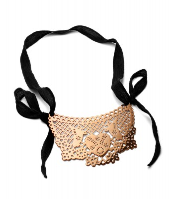 Papel Picado Pink Gold Pendant with Silk Ribbon