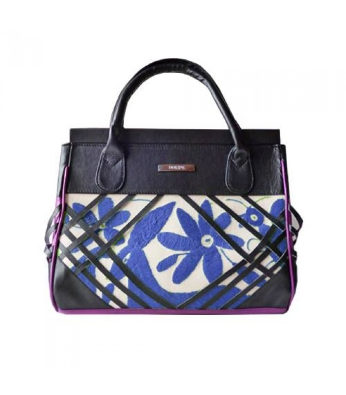 Devotion Bag with Blue Hand Embroideries from Hidalgo and Black Leather