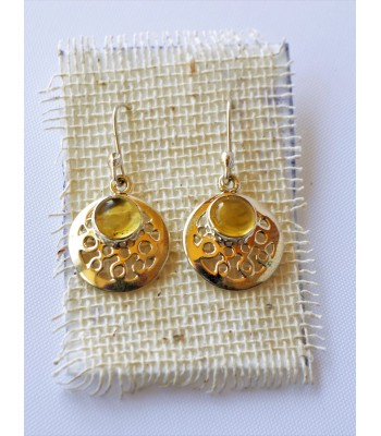 Silver Earrings with Amber from Chiapas