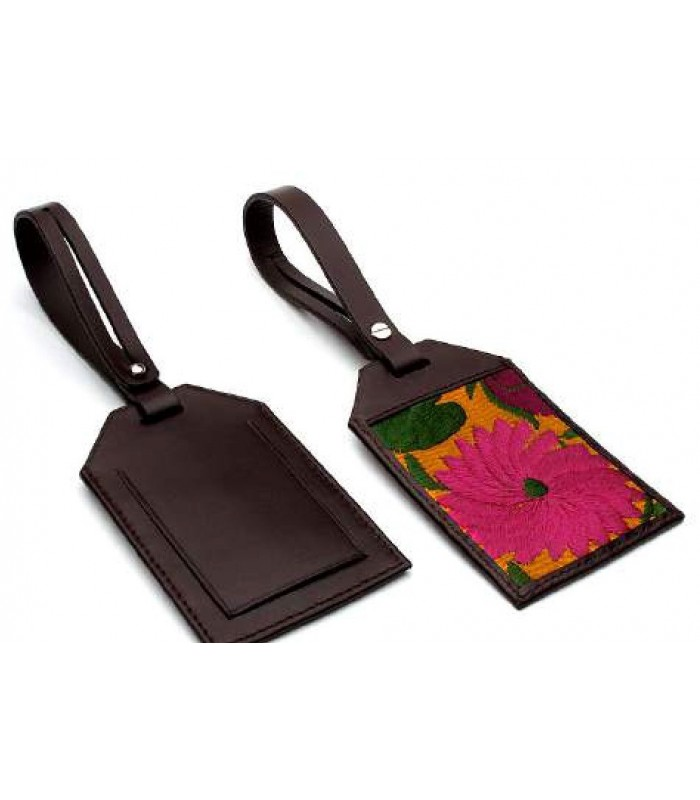 Leather and Embroidery Luggage Tag