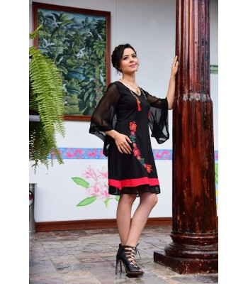 Fernanda Cotton Dress in Black, Made in a Foot Pedal Loom in Comitán, Chiapas, Size Large