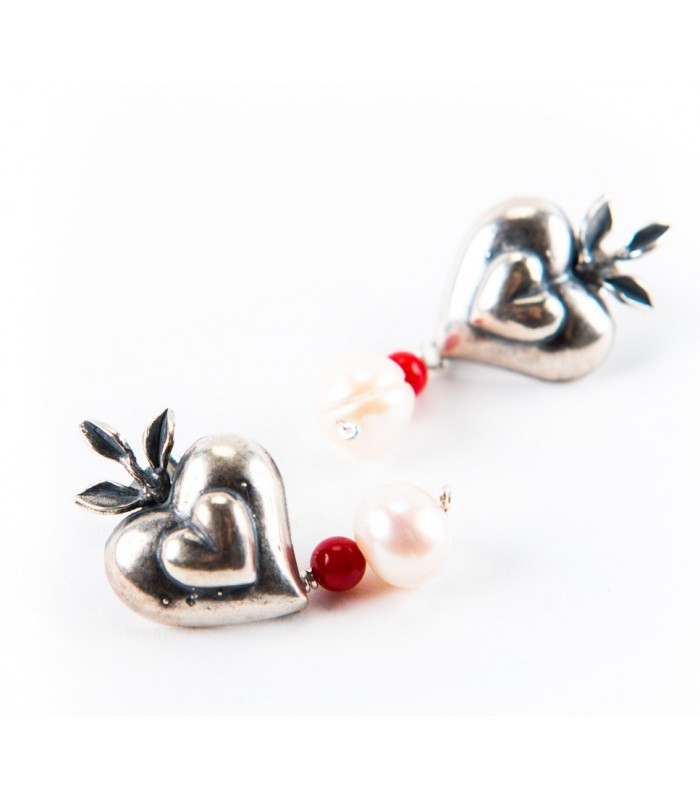 Combined Heart Silver, Pearls and Coral Earrings
