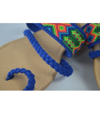 Frida flats in royal blue, handmade in San Juan Chamula. Size 6