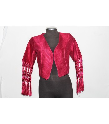 Artisela synthetic silk women's jacket, fuchsia color, woven in a back strap loom