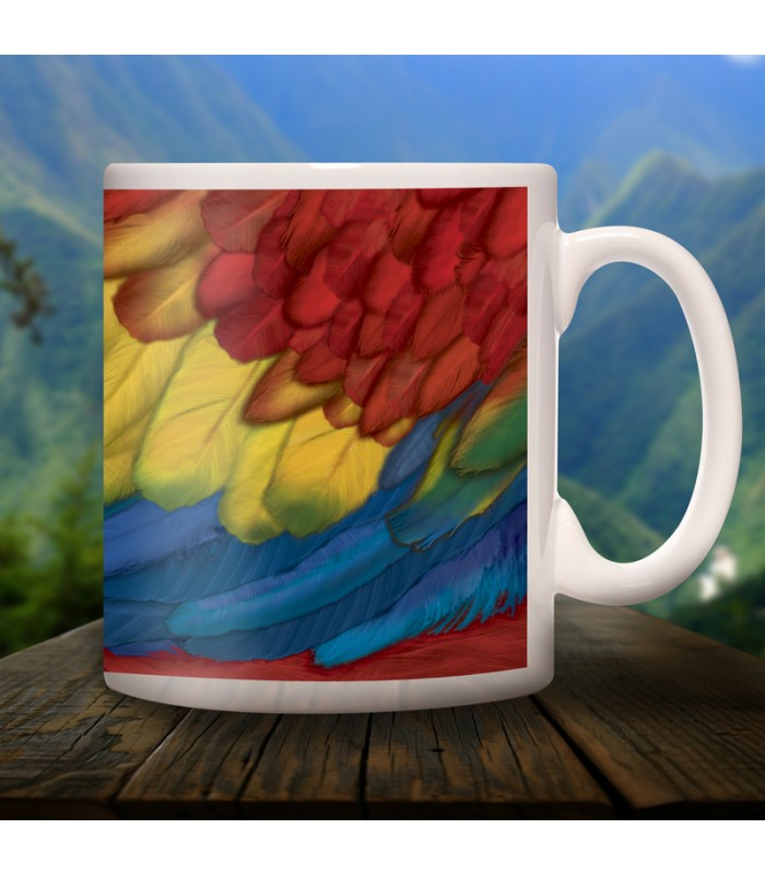 Macaw collector's mug in ceramic with designs of the common animals found in Chiapas.