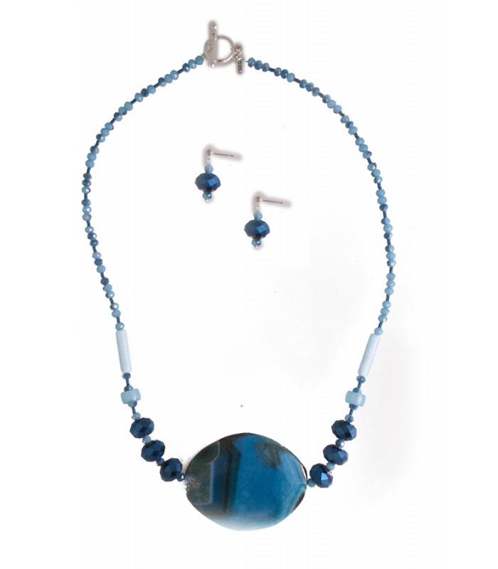 Set of Agate and Cobalt Blue Crystals Necklace and Matching Earrings