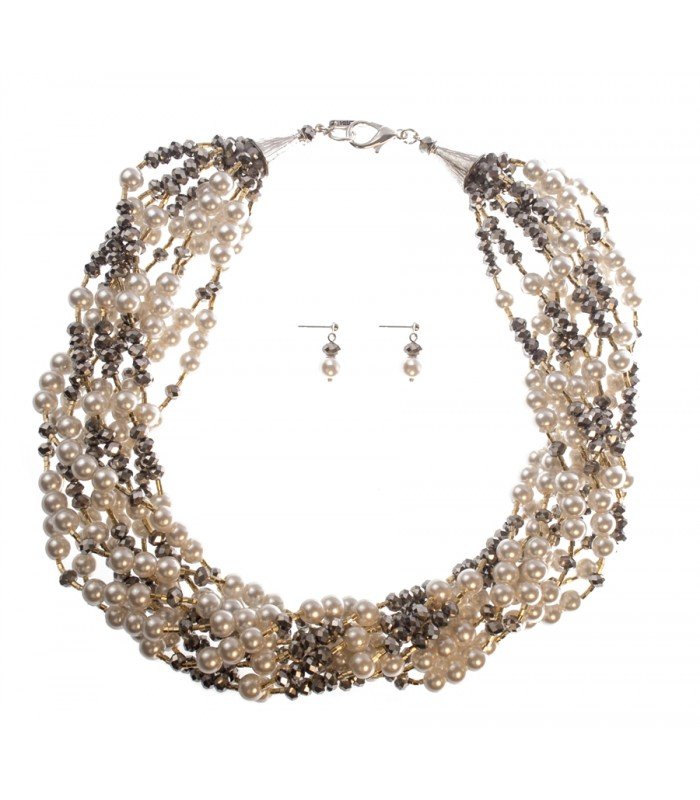 Set of Ten Strand Pearl and Crystal Necklace with Matching Earrings