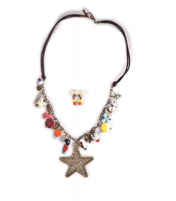 Set of Multi-Charm and a Big Star in Leather Necklace with Matching Earrings