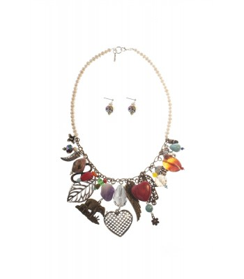 Set of Multi-Charm, Heart and Pearls Necklace with Matching Earrings