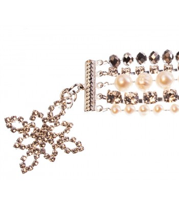 Five Strand Bracelet with Crystals and Pearls