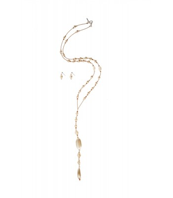 Set of Long Pearl and Crystal Necklace with Matching Earrings