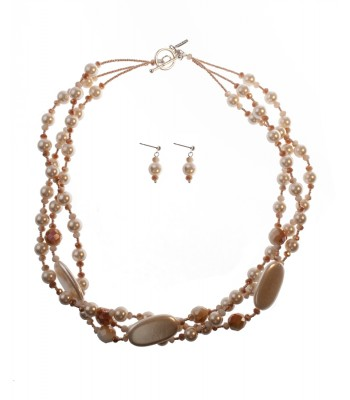 Set of Three Strand Pearl and Crystal Necklace with Matching Earrings