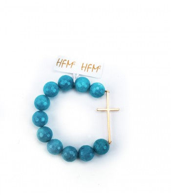 Aqua Stone Bracelet with 22K Gold-Plated Sideway Cross
