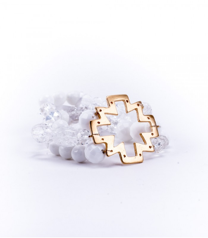 White Stone Three Strand Bracelet with 22K Gold-Plated Hollow Cross