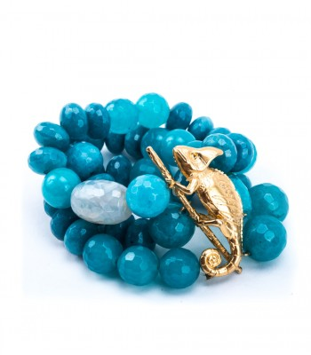 Aqua Stone Three Strand Bracelet with 22K Gold-Plated Chameleon