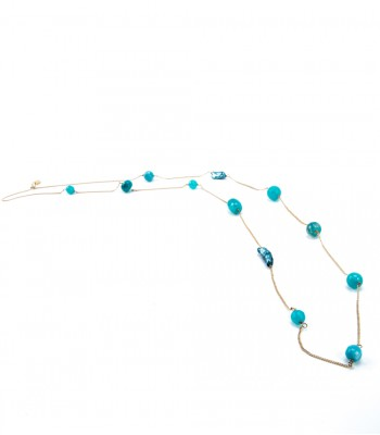 Aqua Stones and Pearls Long Chain Necklace