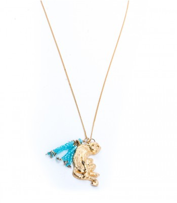 Aqua Stones in a Golden Chain with 22K Gold-Plated Monkey Charm and Tassel