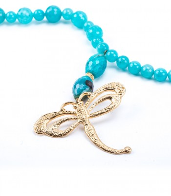 Aqua Stone Necklace with 22K Gold-Plated Hollow Dragonfly