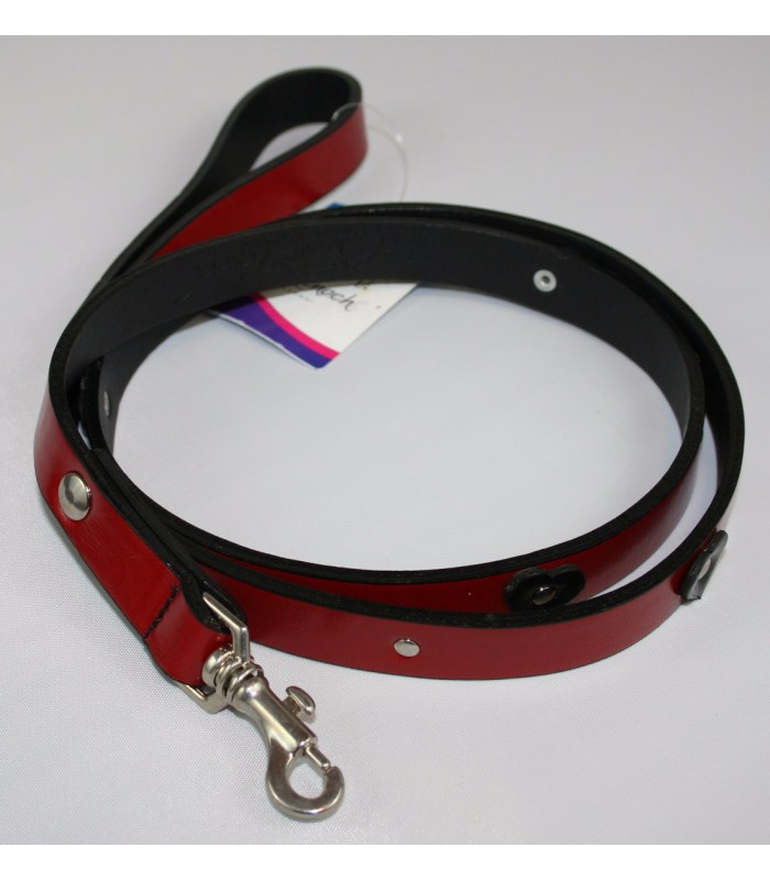 "Black Hearts in Red Leather Small Leash 3/4""x4'"