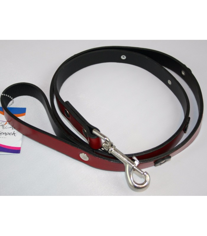 "Black Hearts in Red Leather Large Leash 1""x4'"