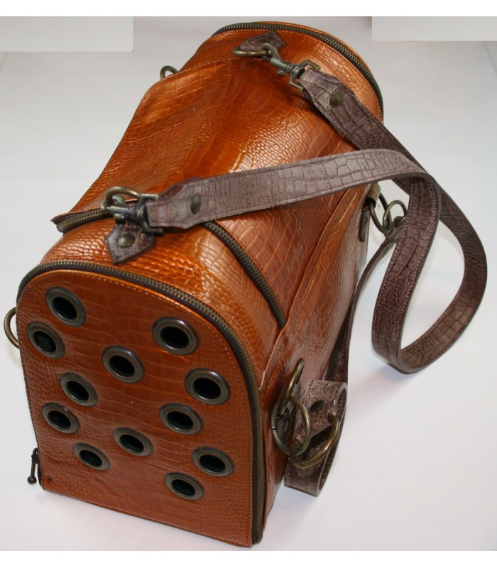 "Copper Leather Carrier 10""x14""7"""