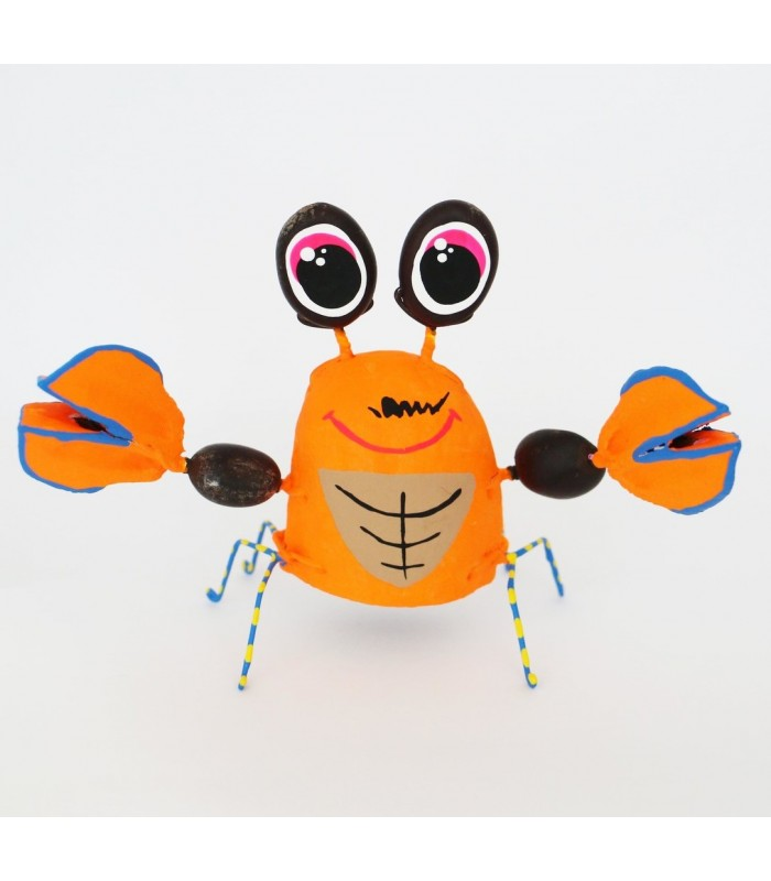 Handmade and hand painted Karushito crab made with organic and recycled material.