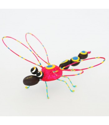 Handmade and hand painted Karushito dragonfly made with organic and recycled material.