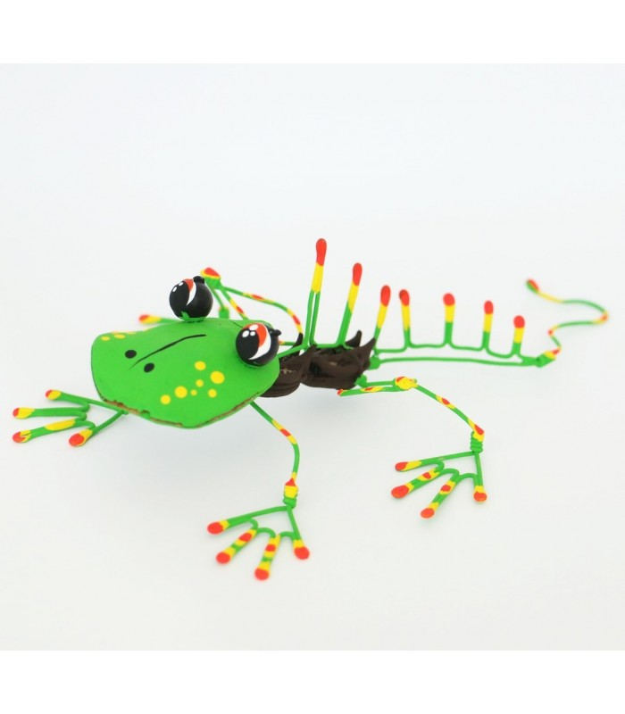 Handmade and hand painted Karushito iguana made with organic and recycled material.
