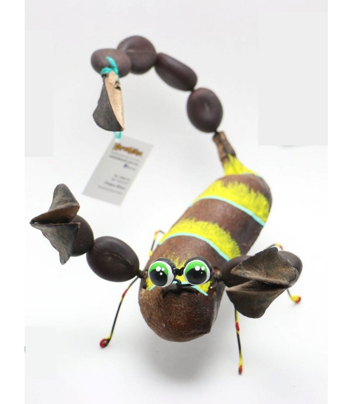 Handmade and hand painted Karushito scorpion made with organic and recycled material.