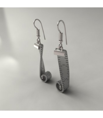 Sewing Tape Measure Sterling Silver Earrings