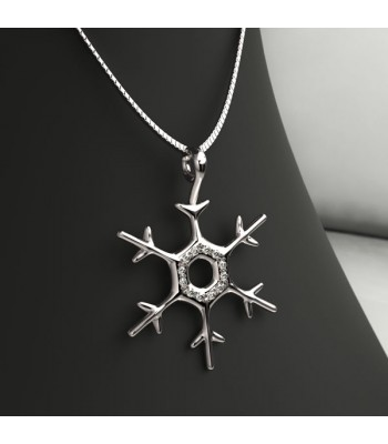 Snowflake Pendant and Chain in Sterling Silver with Swarovski Zirconias