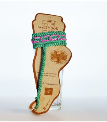 Hand embroidered knit ankle bracelet in mint.