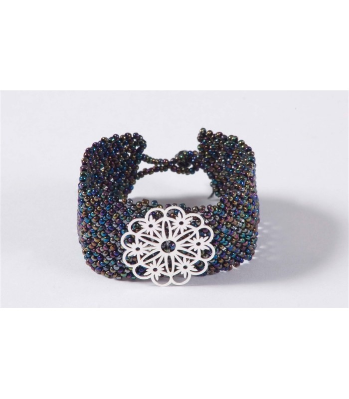 Hand-Knitted Litmus Huichol Bracelet with Sterling Silver Flower