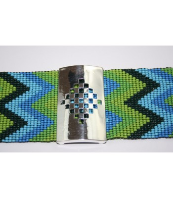 Hand-Knitted Wide Colored Huichol Bracelet with Fretwork Plaque in Sterling Silver