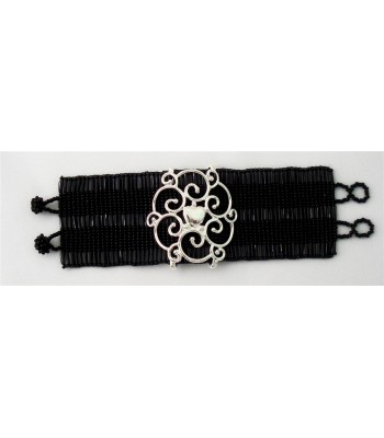 Hand-Knitted Wide Black Huichol Bracelet with Sterling Silver Heart