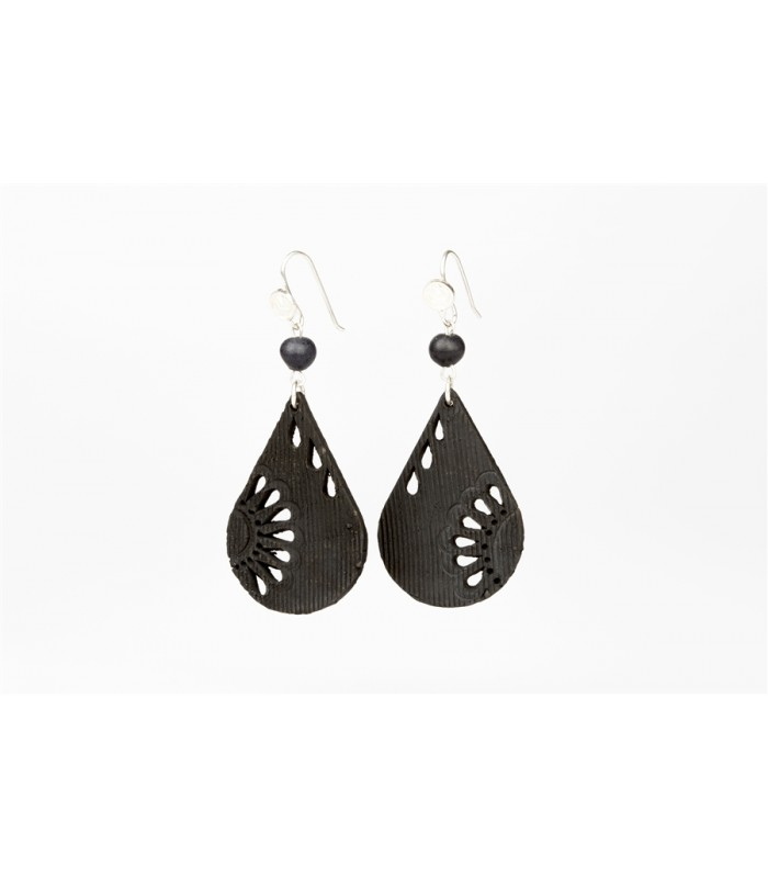 Black Clay Pierced Drop Sterling Silver Earrings