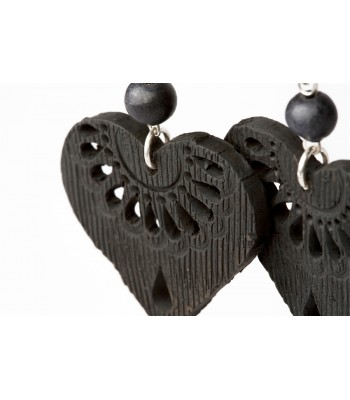 Black Clay Pierced Small Heart Sterling Silver Earrings